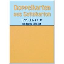 10 Satin dubbele kaarten A6, goud, satijn aan beide zijden