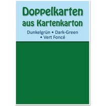 10 tarjetas dobles A6, verde oscuro, 250 g / m²