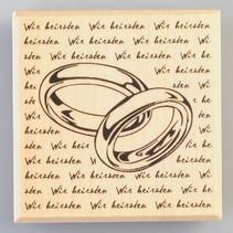 Houten tempel ringen met handtekening, 60 x 60 mm
