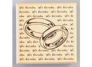 Stempel / Stamp: Holz / Wood Anelli del tempio di legno con la firma, 60 x 60 mm