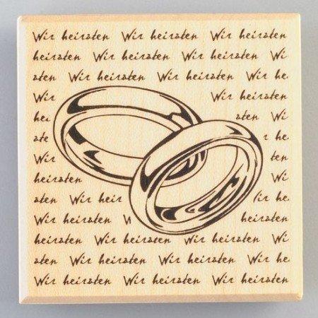 Stempel / Stamp: Holz / Wood Holzstempel, Ringe mit Schrift, 60 x 60 mm