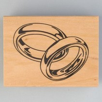 Houten stempel, trouwringen, 40 x 60 mm
