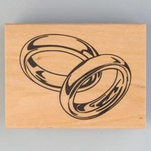 Stempel / Stamp: Holz / Wood Francobollo di legno, fedi nuziali, 40 x 60 mm