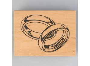 Stempel / Stamp: Holz / Wood Holzstempel, Hochzeitsringe, 40 x 60 mm