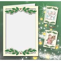 5 dubbele kaarten A6, Passepartout - kerstkaarten, reliëf cream