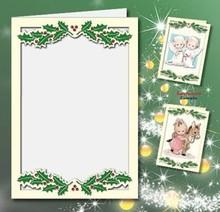 KARTEN und Zubehör / Cards 5 carte doppie A6, Passepartout - Cartoline di Natale, crema in rilievo