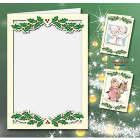 KARTEN und Zubehör / Cards 5 Doppelkarten A6, Passepartout - Weihnachtskarten, geprägt, creme