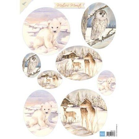 A4 Bilderbogen mit Winter und Tieren Bilder