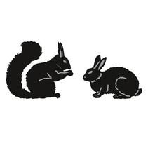 Skæring og prægning stencils, Tiny Dyr for, egern og Kanin