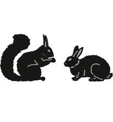 Marianne Design Taglio e goffratura stencil, di Tiny animali, Scoiattolo e Coniglio