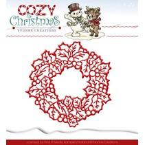Skæring og prægning stencils, Yvonne Creations, jul krans