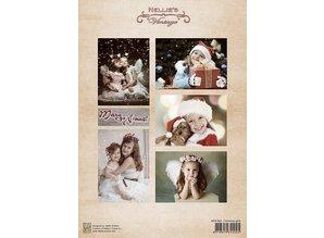 Nellie snellen Hoja Decoupage muchachos de Navidad de la vendimia