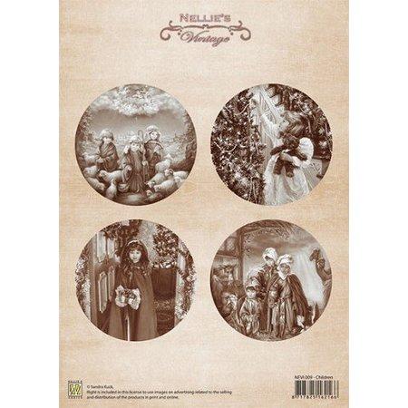 Nellie snellen Decoupage ark A4 Jul vintage børn