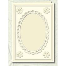 5 Passepartout kort med oval halsudskæring og blonde kant, vaskeskind (creme)