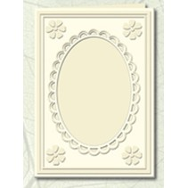 5 Passepartoutkarten mit ovalem Ausschnitt und Spitzenrand, chamois (creme)