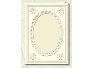 KARTEN und Zubehör / Cards 5 Passepartout cards with oval neckline and lace edging, chamois (creme)