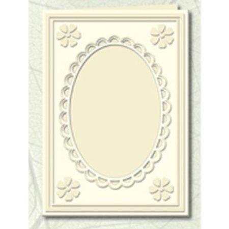KARTEN und Zubehör / Cards 5 Passepartout kort med oval halsudskæring og blonde kant, vaskeskind (creme)