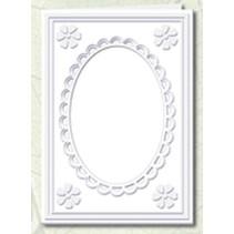 5 Passepartout kaarten met ovale hals en kant trim, wit