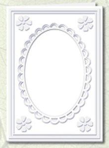 KARTEN und Zubehör / Cards 5 Passepartout kort med oval halsudskæring og blonde trim, hvid