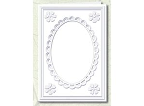 KARTEN und Zubehör / Cards 5 Passepartout cards with oval neckline and lace trim, white