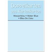 5 tarjetas dobles A6, azul agua, 250 g / m²