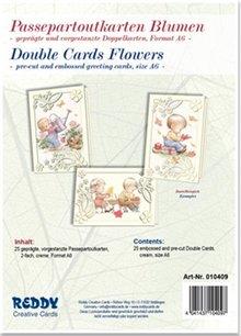 KARTEN und Zubehör / Cards 5 Passepartout cards flowers, embossed and pre-cut cards Double, cream