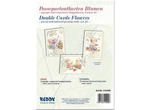 KARTEN und Zubehör / Cards 5 Passepartout kort blomster, prægede og pre-cut-kort Dobbelt, fløde