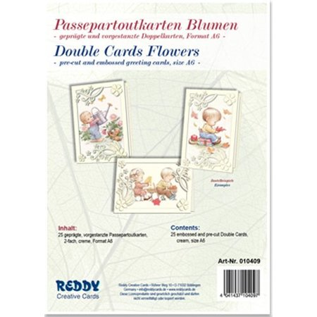 KARTEN und Zubehör / Cards 5 Passepartoutkarten Blumen, geprägte und vorgestanzte Doppelkarten, creme