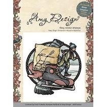 Sello de goma, Amy Diseño - Aférrate Stamp - Patinaje niño