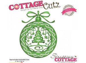 Cottage Cutz Taglio e goffratura stencil, ornamento, palla di Natale con l'albero di Natale