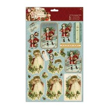 Exlusiv A4 Decoupage Set, victorianske jul, julemand