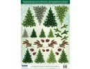 Embellishments / Verzierungen Die cut sheets with fir trees from 250g card stock, A4 format - Copy