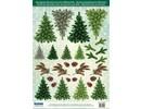 Embellishments / Verzierungen Stanzbogen mit Tannebäume aus 250g Kartenkarton, Format A4 - Copy