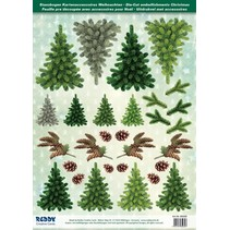 Die cut sheets with fir trees from 250g card stock, A4 format - Copy