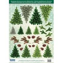 Stanzbogen mit Tannebäume aus 250g Kartenkarton, Format A4 - Copy