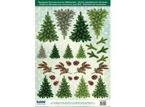 Embellishments / Verzierungen Die hojas cortadas manopla anne árboles de 250g cartulina, formato A4 - Copia