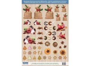 Embellishments / Verzierungen Die cut ark med Weihnachtsgebaeck, bagte æbler fra 250 g karton, A4-format - Copy