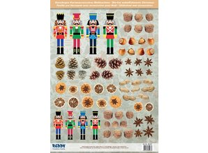 Embellishments / Verzierungen Die cut sheets with nutcrackers, dried fruit from 250g card stock, A4