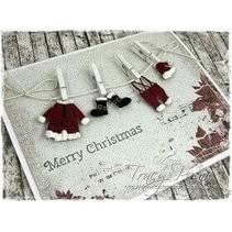 Stempelen en embossing stencil, Santa Claus kleren
