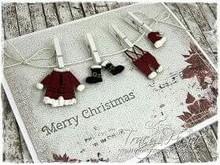 Joy!Crafts und JM Creation Stampaggio e goffratura stencil, abiti di Babbo Natale