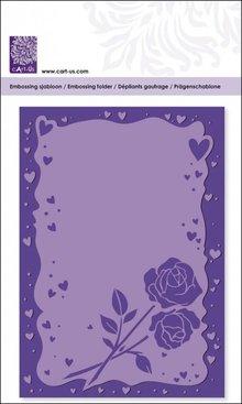 embossing Präge Folder Prægning mapper med hjerte ramme og roser