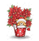 Wild Rose Studio`s A7, Transparent Stempel, Weihnachts Teddy