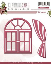 Precious Marieke Punching and embossing template, windows with curtains