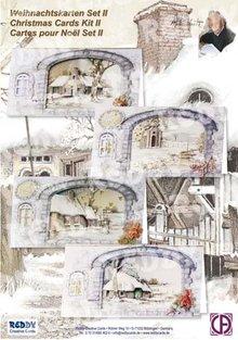 BASTELSETS / CRAFT KITS: Kit completi per la 4 cartoline di Natale