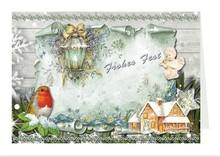 BASTELSETS / CRAFT KITS: Craft portafoglio per la progettazione di 8 cartoline di Natale