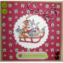 Clear stamps, 75 x 75mm, Pippi Wood Christmas - Sledge