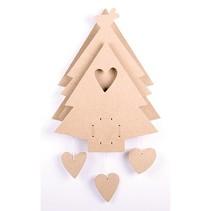 MDF juletræ med spilledåse
