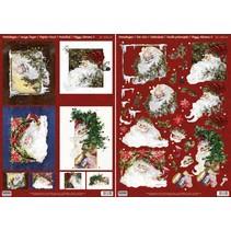 Kerstkaarten Set: 3D Die losse vellen, Santas, met inbegrip van 4 dubbele kaarten