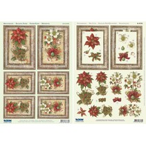 Christmas Cards Set: 3D Die cut sheets, poinsettia, including 4 double cards