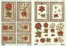 BASTELSETS / CRAFT KITS: Tarjetas de Navidad Set: hojas cortadas Die 3D, poinsettia, incluyendo 4 tarjetas dobles